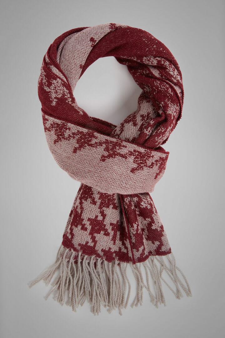 Gradient Houndstooth Wool Scarf, Burgundy - Beige, hi-res