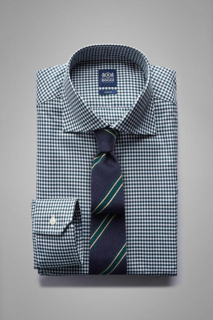 Camicia A Quadretti Verdi Collo Windsor Slim Fit, Verde scuro, hi-res