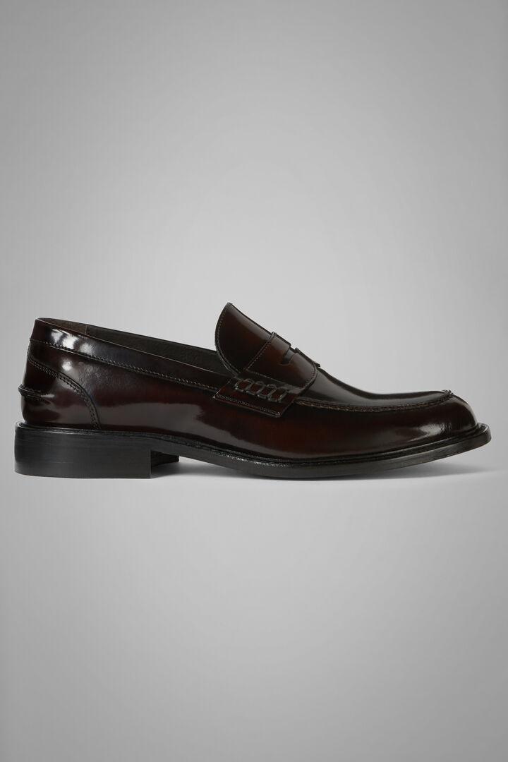 Brushed Leather Loafers, Burgundy, hi-res