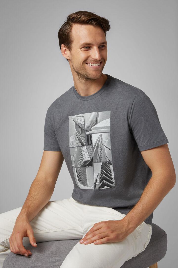 T-Shirt Grigia In Misto Cotone, Grigio, hi-res