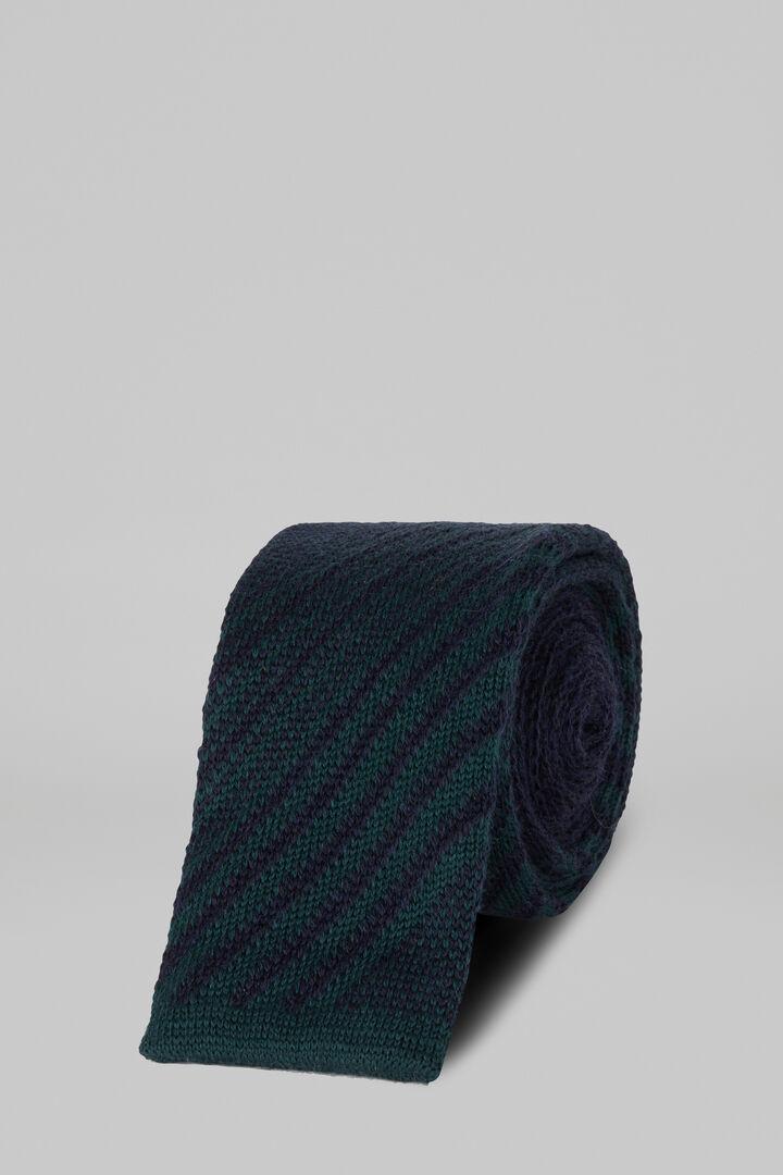 Regimental Knitted Wool Tie, Green, hi-res