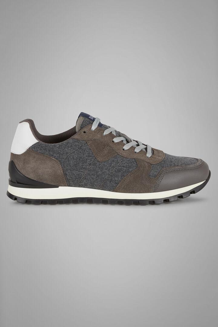Sneakers running pelle e lana idrorepellente, Grigio, hi-res
