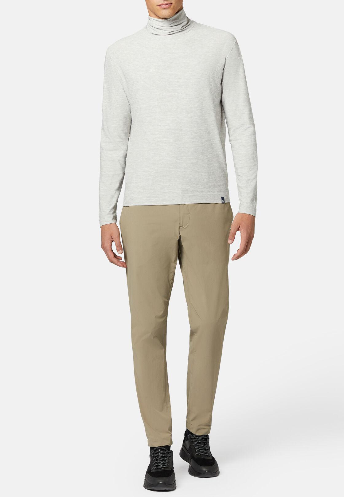 T-shirt collo alto in tessuto tecnico manica lunga, Grigio, hi-res