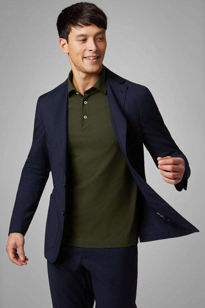 Navy Blue Wool Blend Aria Blazer, Navy blue, hi-res