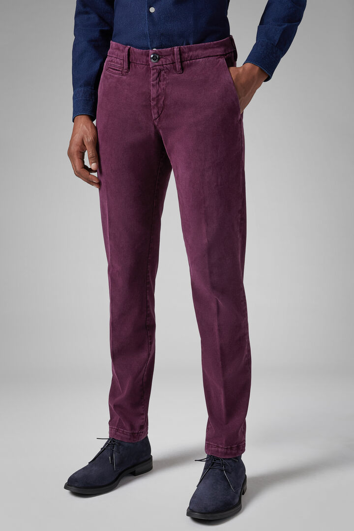 Pantalone In Cotone Tencel Broken Twill Slim, Bordeaux, hi-res