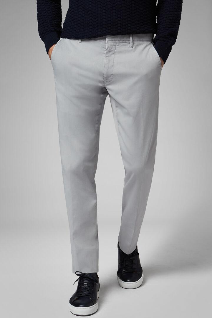 Pantalone In Gabardina Di Cotone Tencel Regular, Grigio, hi-res