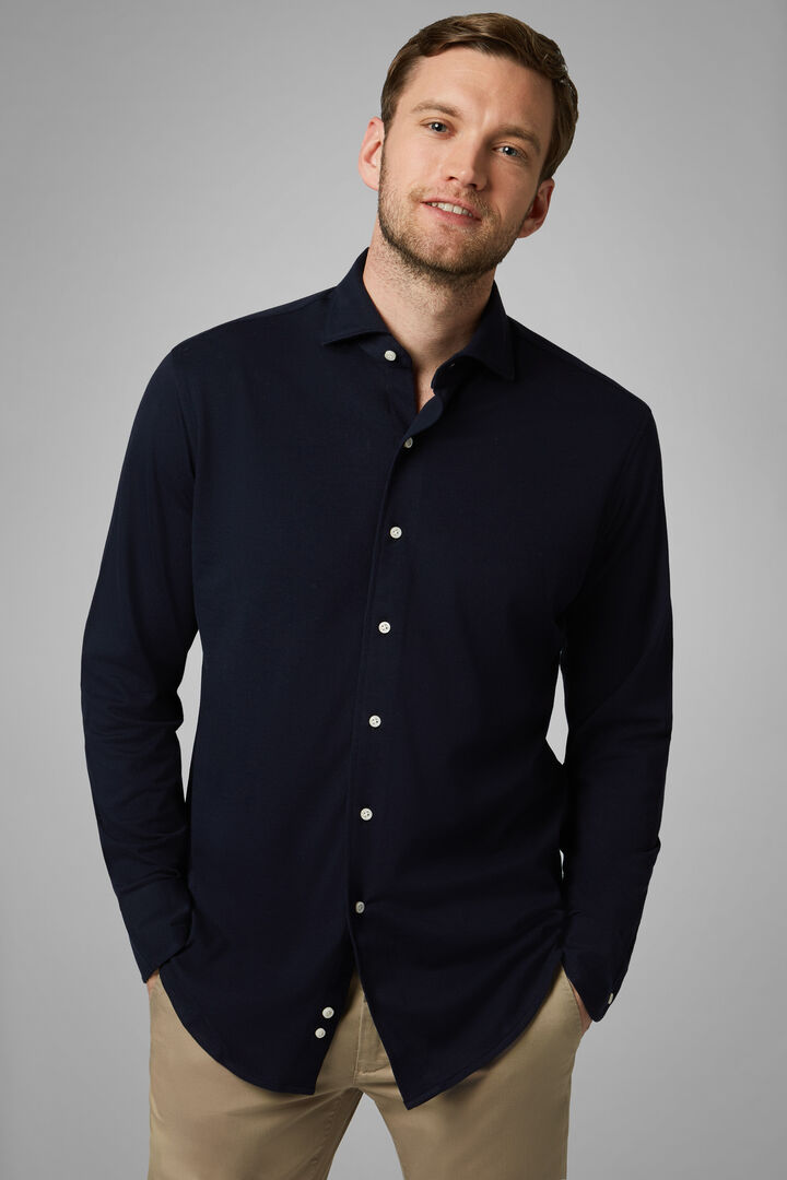 Regular Fit Navy Blue Casual Shirt With Closed Collar, Navy blue, hi-res
