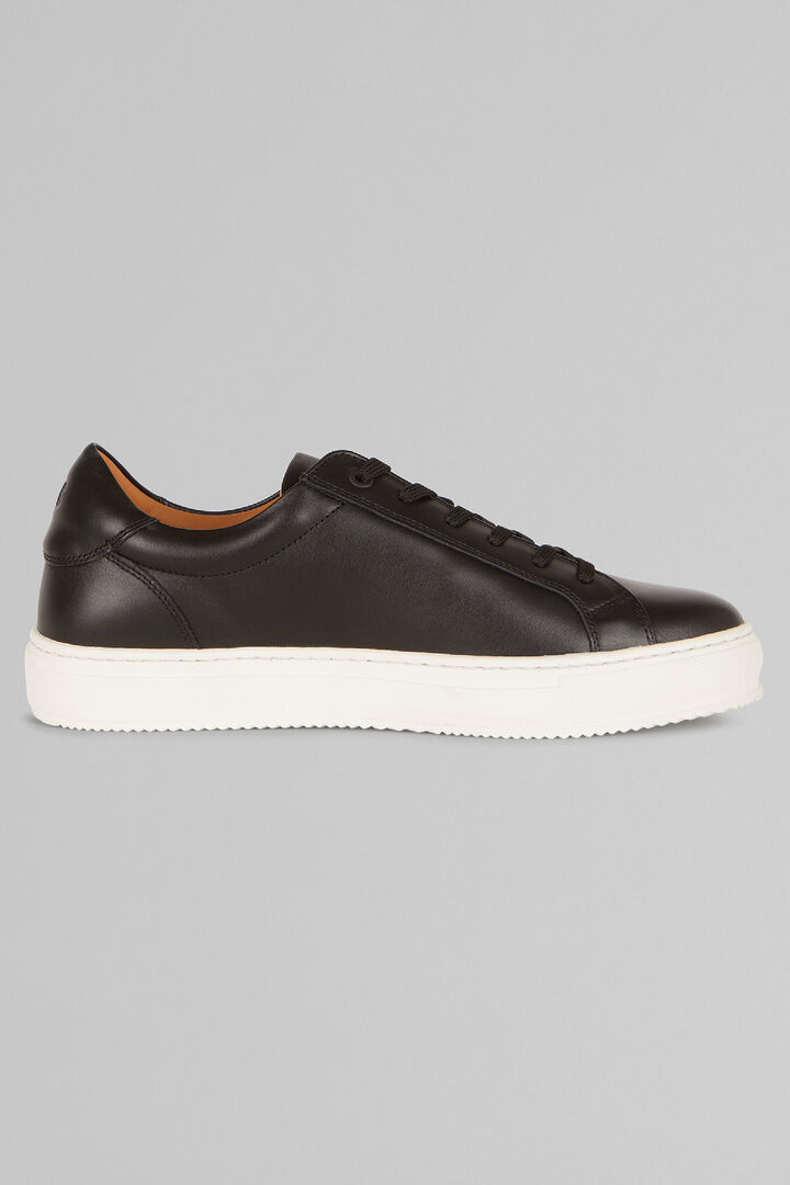 Smooth Leather Trainers, Black, hi-res