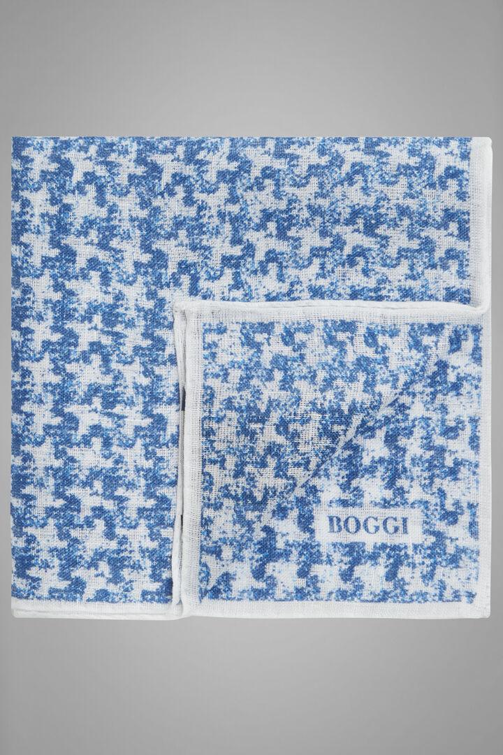 Houndstooth Print Linen Pocket Square, Bluette, hi-res