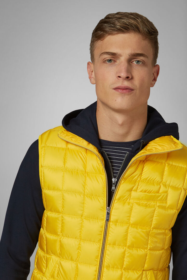Square Quilted Nylon Gilet, Yellow, hi-res