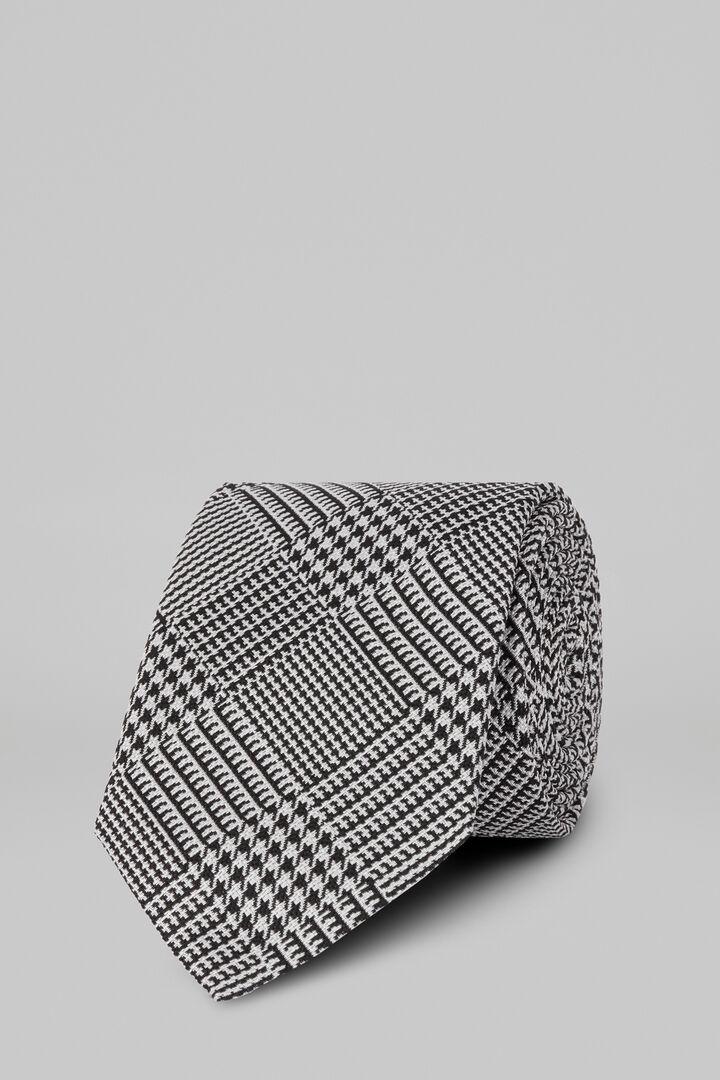 Cravate Prince De Galles En Soie Jacquard, Blanc noir, hi-res