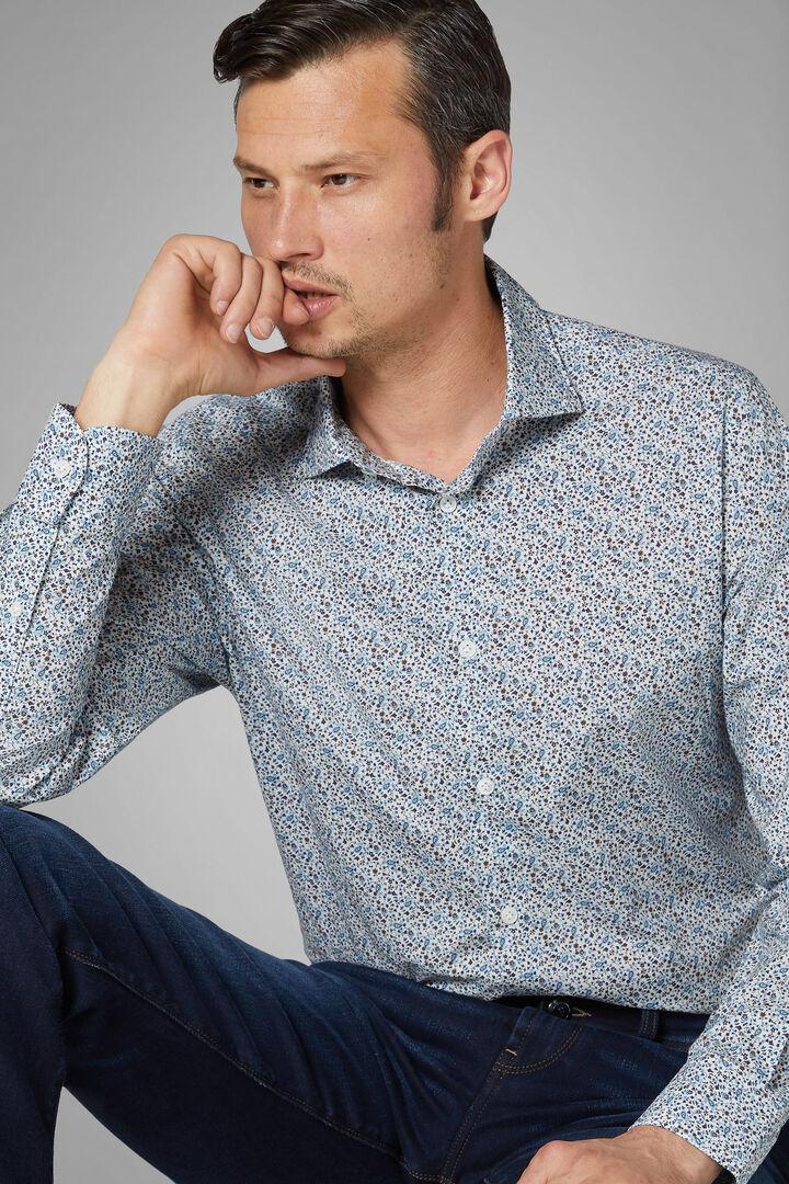 Slim Fit Blue/Dark Brown Shirt With Florence Collar, Blue - Dark brown, hi-res