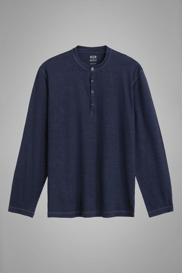 Navy Blue Stretch Linen Jersey Grandad Collar T-Shirt, Navy blue, hi-res