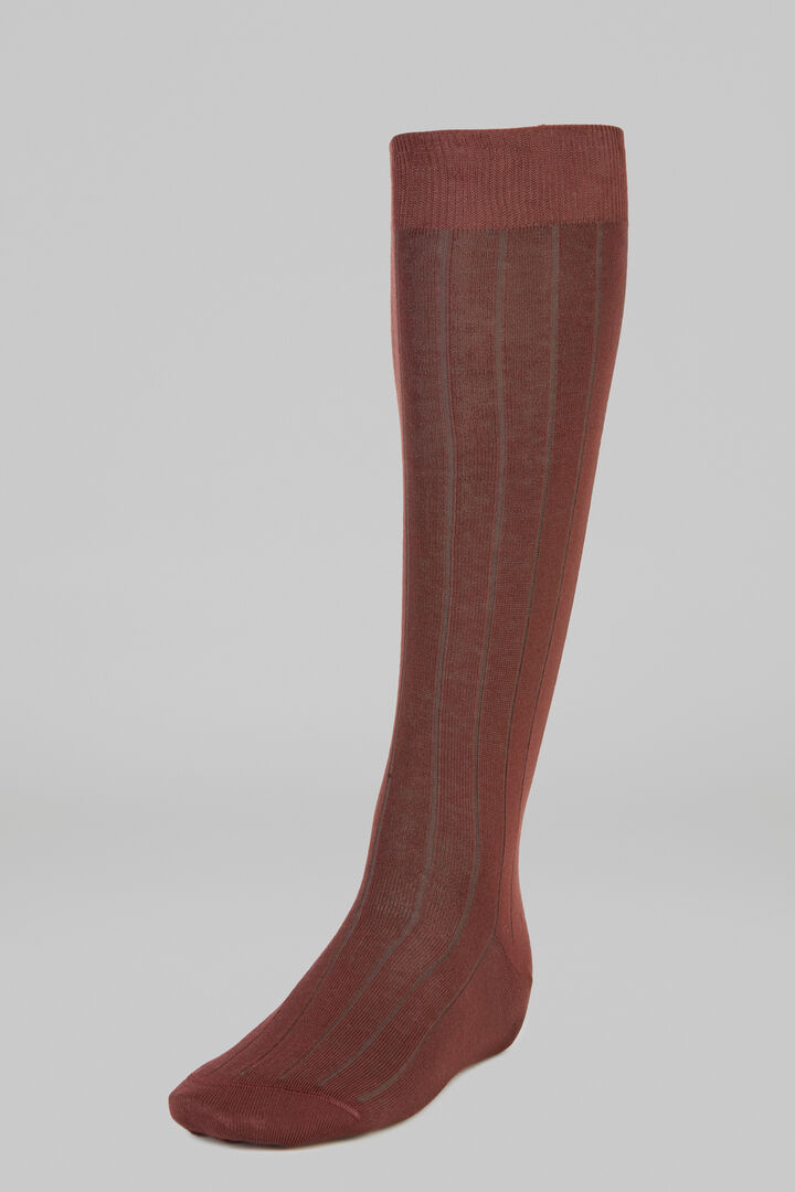 Ribbed Marl Long Socks, Burgundy - Green, hi-res