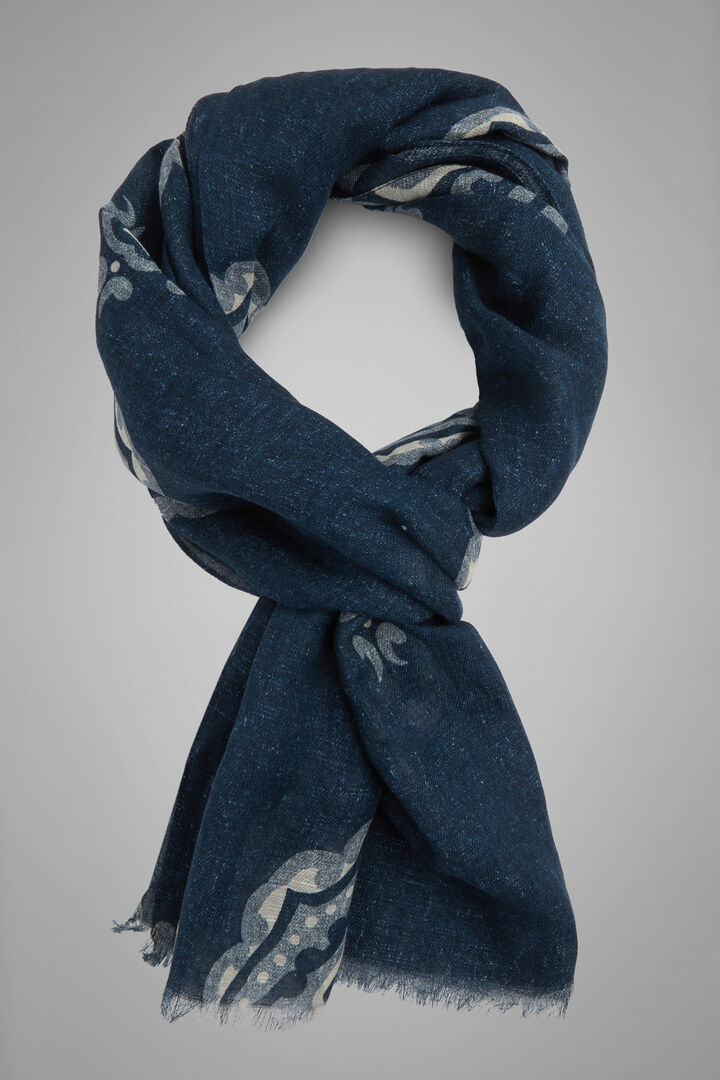 Macro Patterned Printed Cotton & Linen Scarf, Navy - Light blue, hi-res