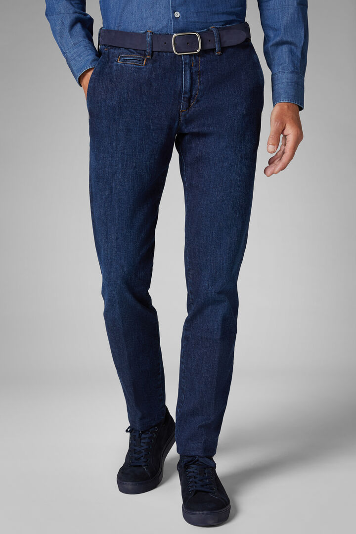 Pantalone Denim Con Lavaggio Medio Slim, Denim, hi-res