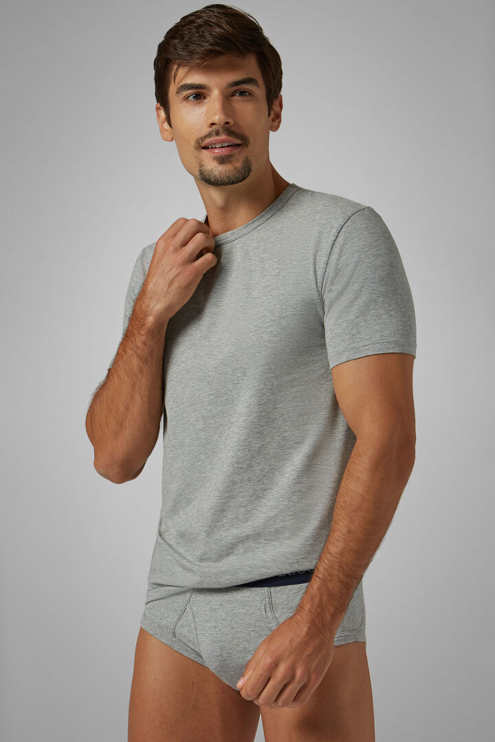 Grey Stretch Cotton Undershirt, Grey, hi-res