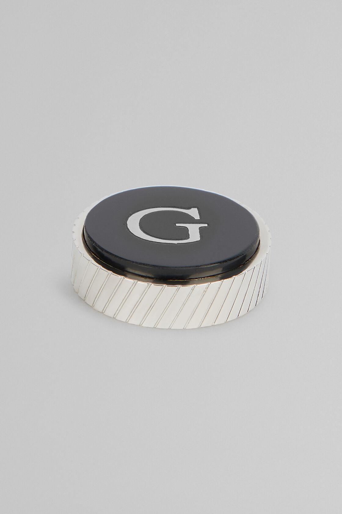 Metal Letter G Cufflinks, Black, hi-res