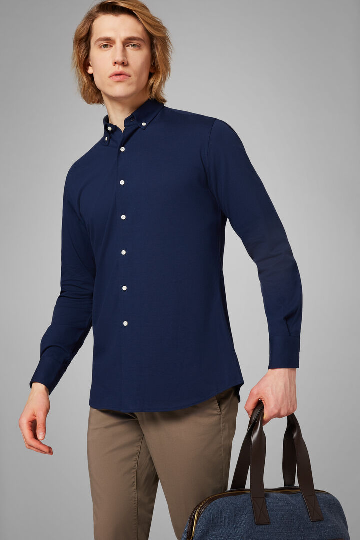 Polohemd Blau Mit Button-Down-Kragen Regular Fit, Blau, hi-res