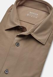 Taubenblaues hemd aus elastischem nylon slim fit, Taupe, hi-res