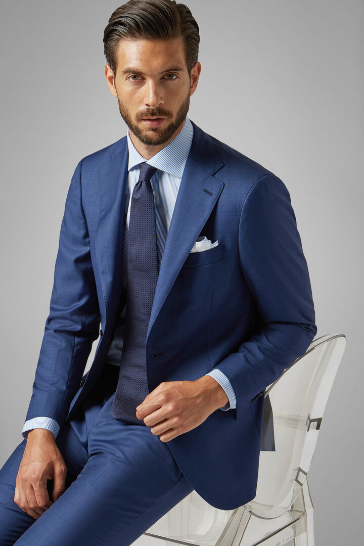 Blue Wool Milano Suit Jacket, Blue, hi-res