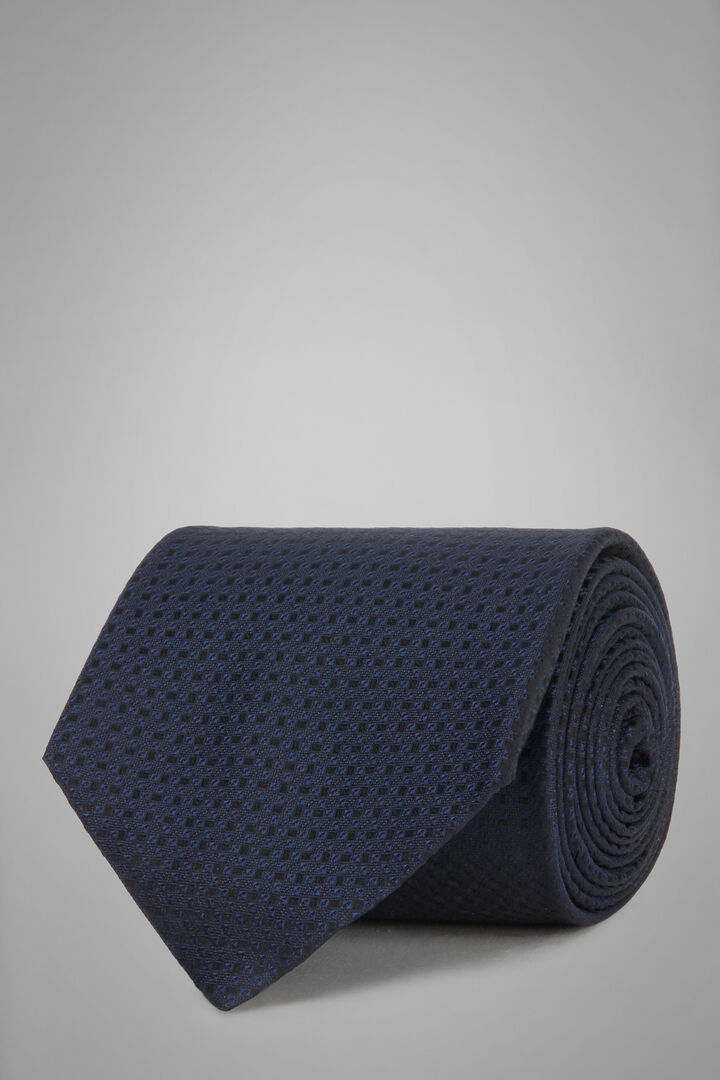 Structured Silk Jacquard Tie, Navy blue, hi-res