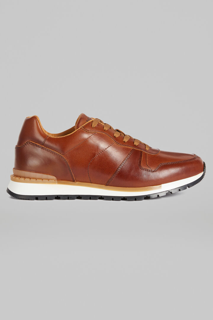 Leather Running Trainers, Leather brown, hi-res