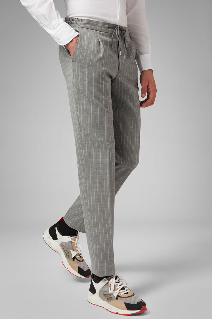 Pinstripe Travel Wool Trousers With Drawstring, Light grey, hi-res