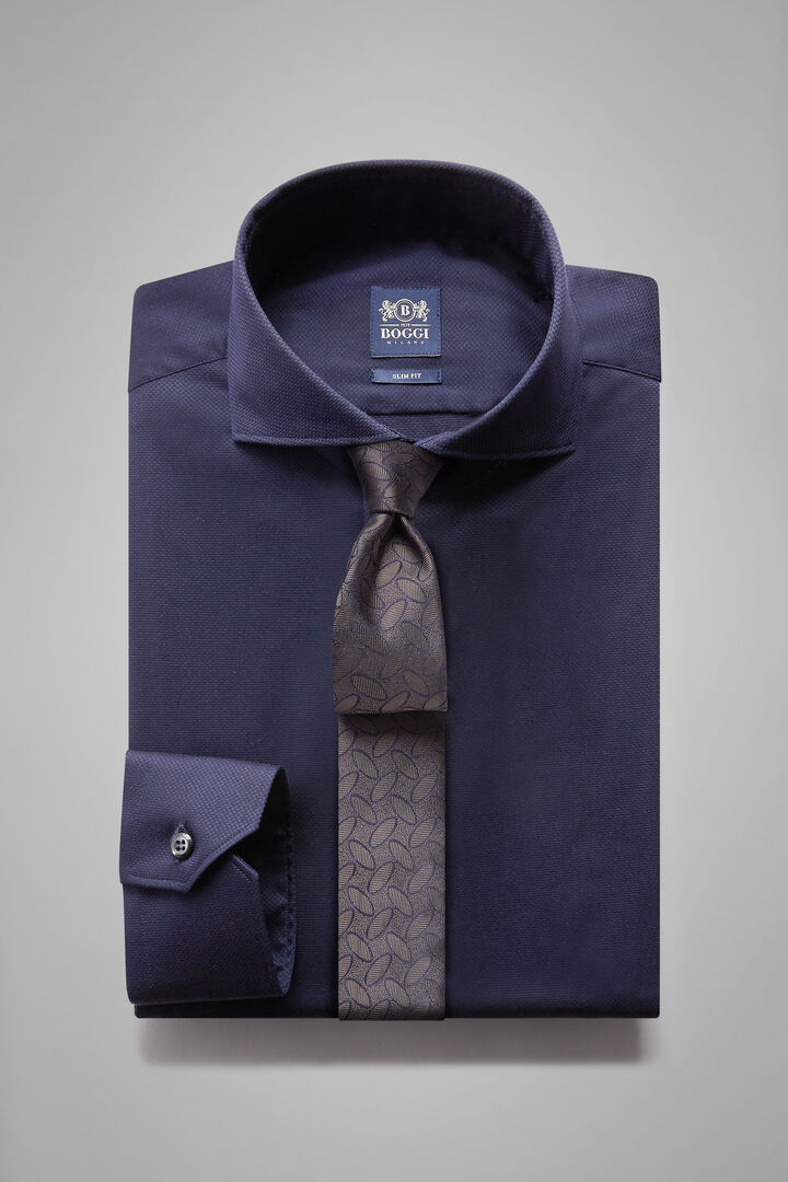 Hemd Navyblau Mit Napoli-Kragen Slim Fit, Navy blau, hi-res