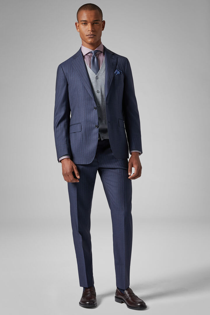 Blue/Burgundy Wool Napoli Suit, Blue - Burgundy, hi-res