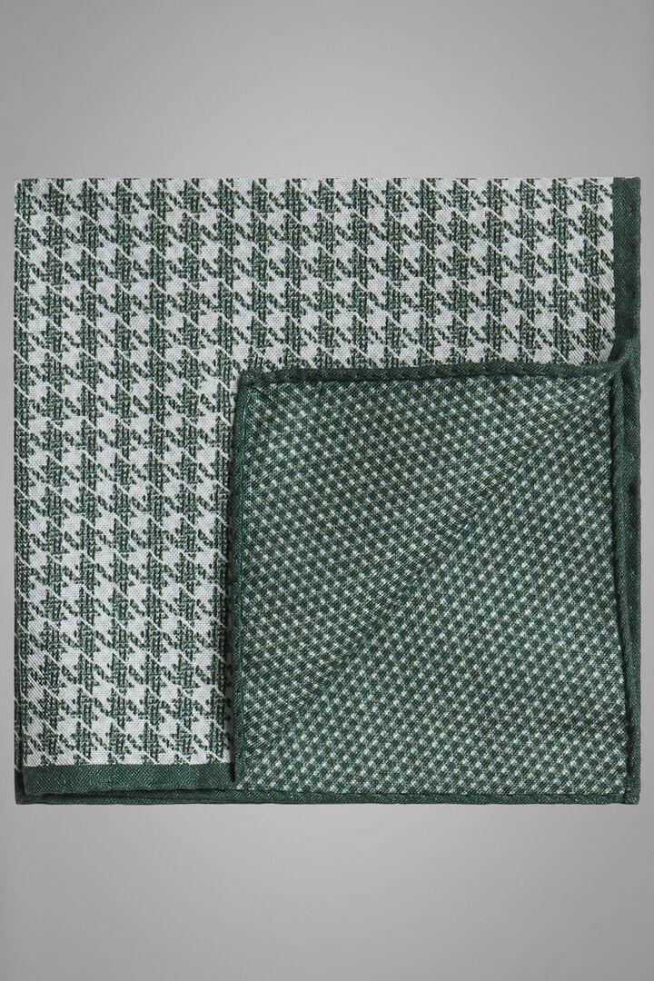 Pochette Double Face En Soie Imprimée, vert, hi-res