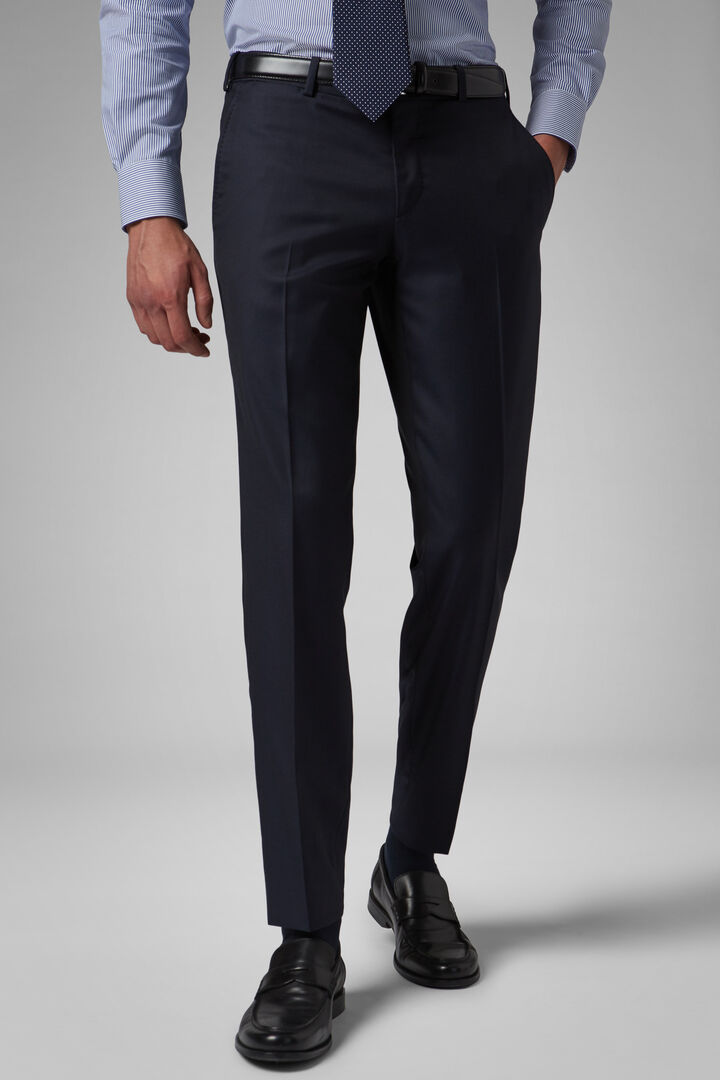 Regular Fit Navy Wool Suit Trousers, Navy blue, hi-res