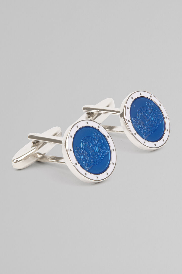 Colourful Cufflinks With Logo, Bluette, hi-res