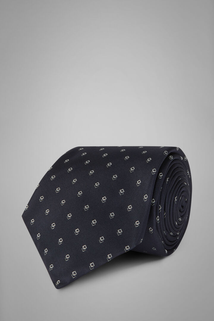 Gemusterte Krawatte Aus Seidenjacquard, Blau, hi-res