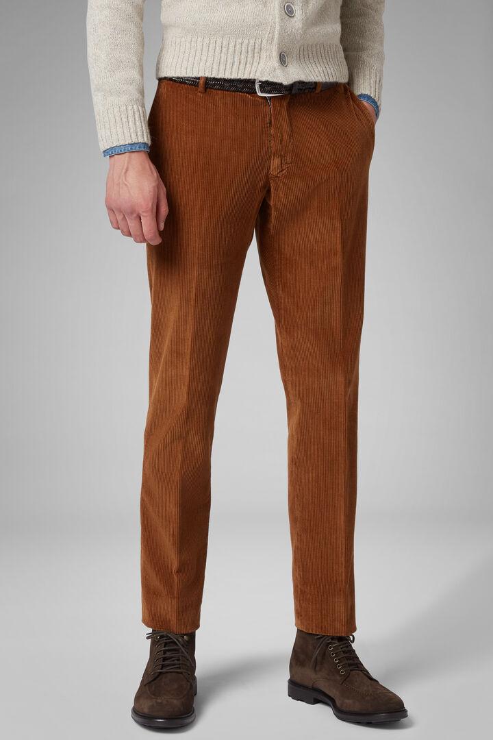 Pantalon En Velours Teint En Pièce Coupe Ajustée, Ocre, hi-res