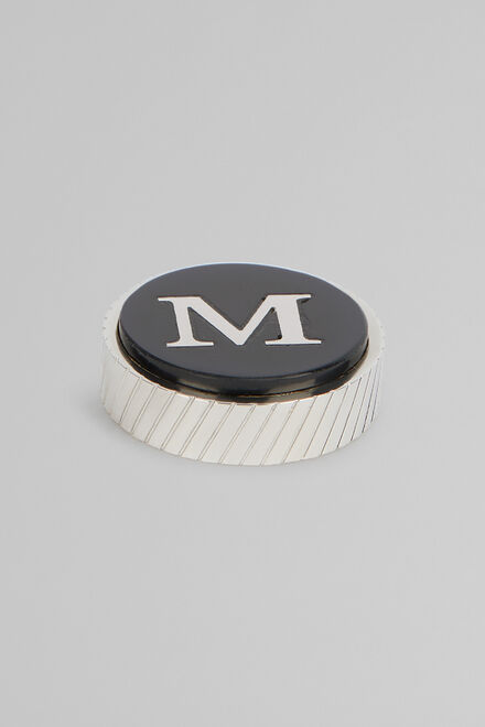 Metal Letter M Cufflinks, Black, hi-res