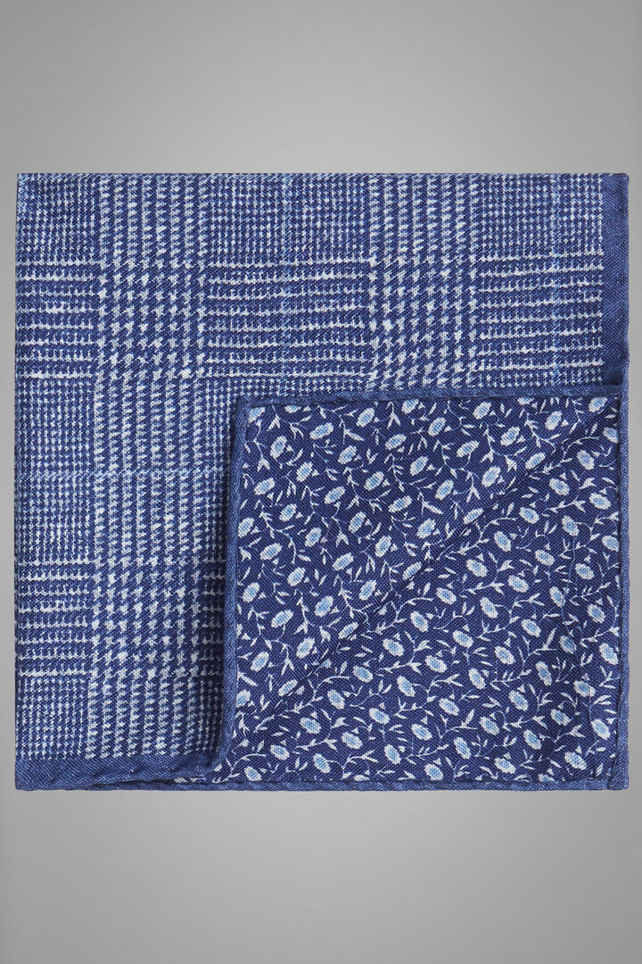 Double-Sided Printed Silk Pocket Square, Blue, hi-res