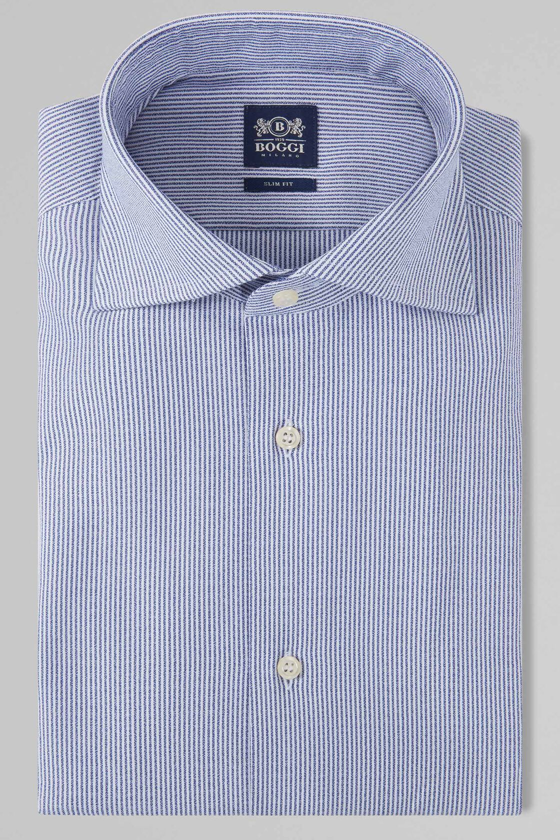 CAMICIA A RIGHE BLU NAVY COLLO WINDSOR SLIM FIT, NAVY, hi-res
