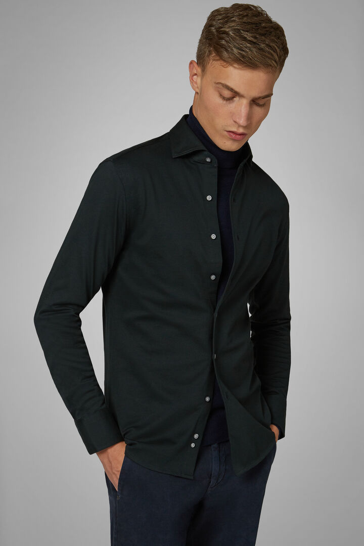 Slim Fit Green Casual Shirt With Closed Collar, Green, hi-res