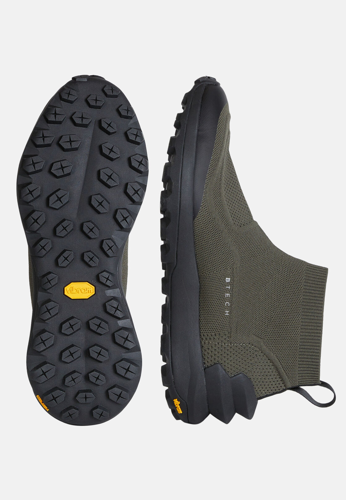 Sneakers calza alta militare in tessuto sostenibile, Militare, hi-res