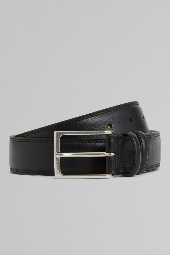 Grain Leather Belt With Double Topstitching, Black, hi-res