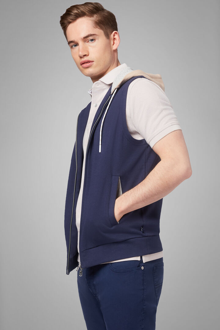 Sleeveless Hooded Sweatshirt In Stretch Cotton, Navy blue, hi-res