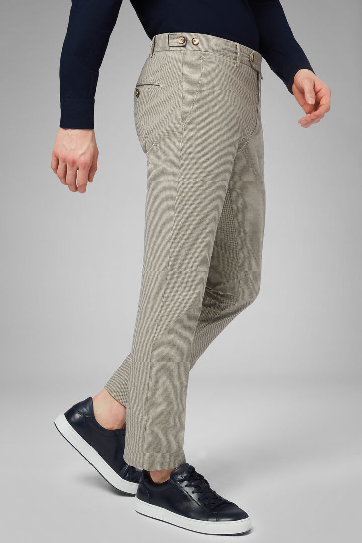 Slim Fit Houndstooth Stretch Cotton Trousers, Fawn, hi-res