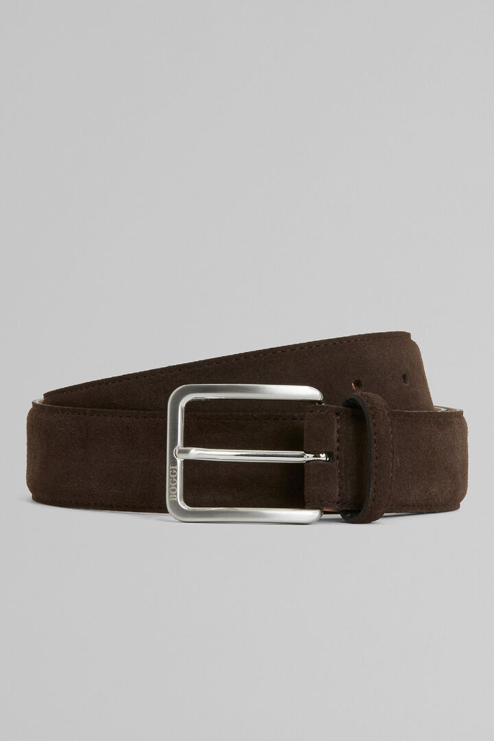 Suede Belt, Dark brown, hi-res