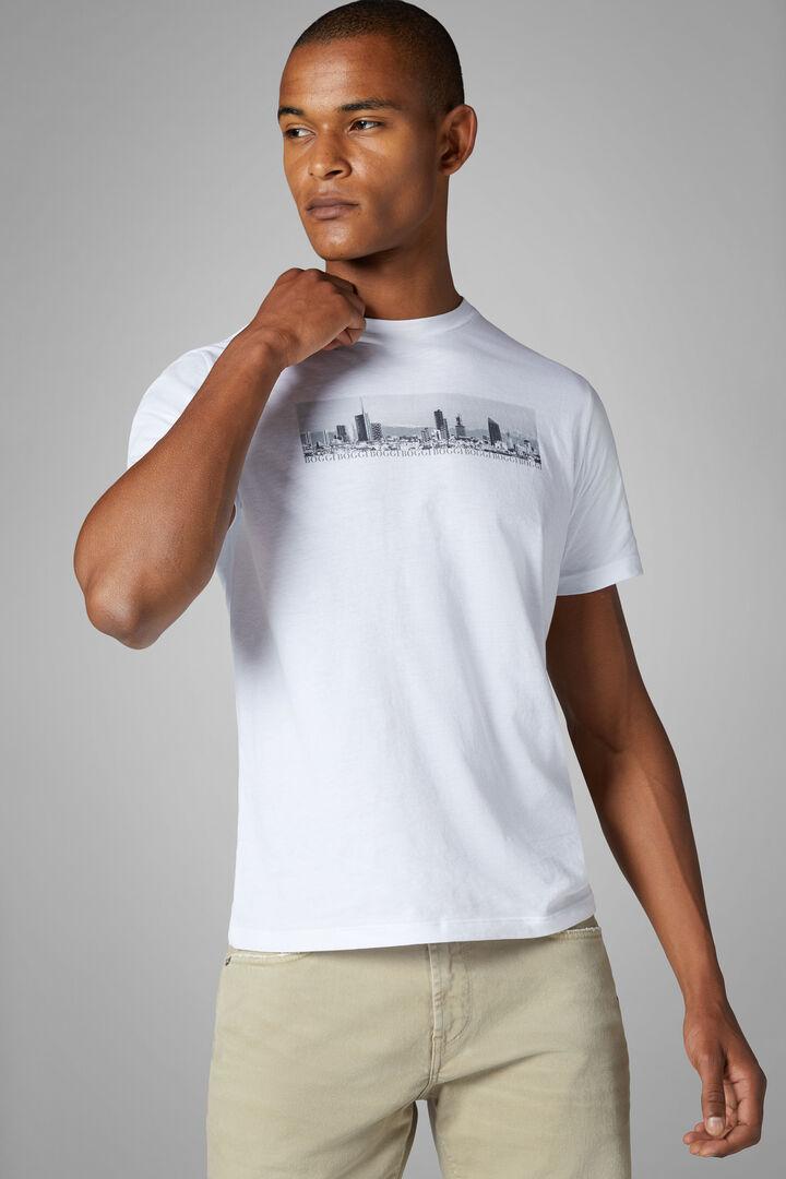 T-Shirt Bianca In Misto Cotone, Bianco, hi-res