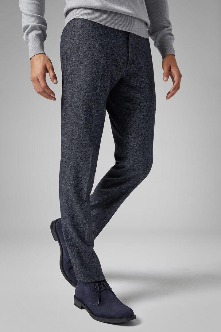 Pantalon En Laine Mélangée Stretch Coupe Ajustée, Bleu, hi-res