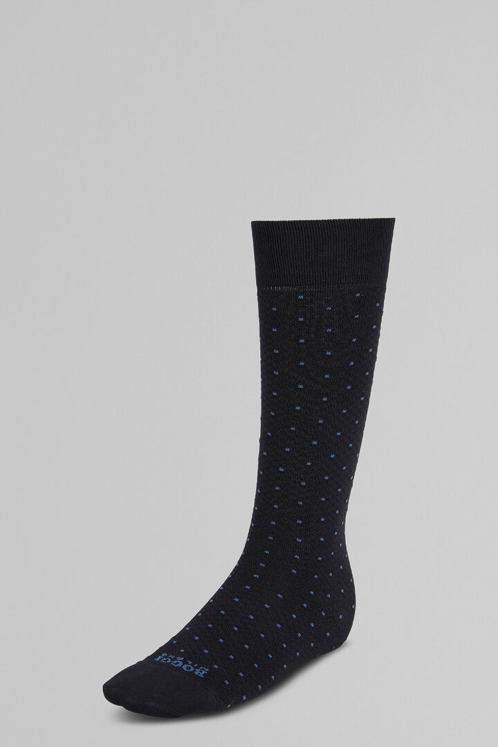 Polka Dot Piqué Long Socks In High-Performance Yarn, Navy blue, hi-res