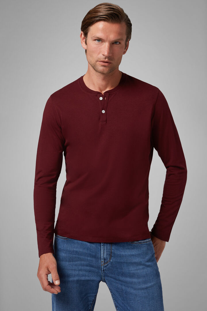 Burgundy Cotton/Tencel Jersey Henley, Burgundy, hi-res