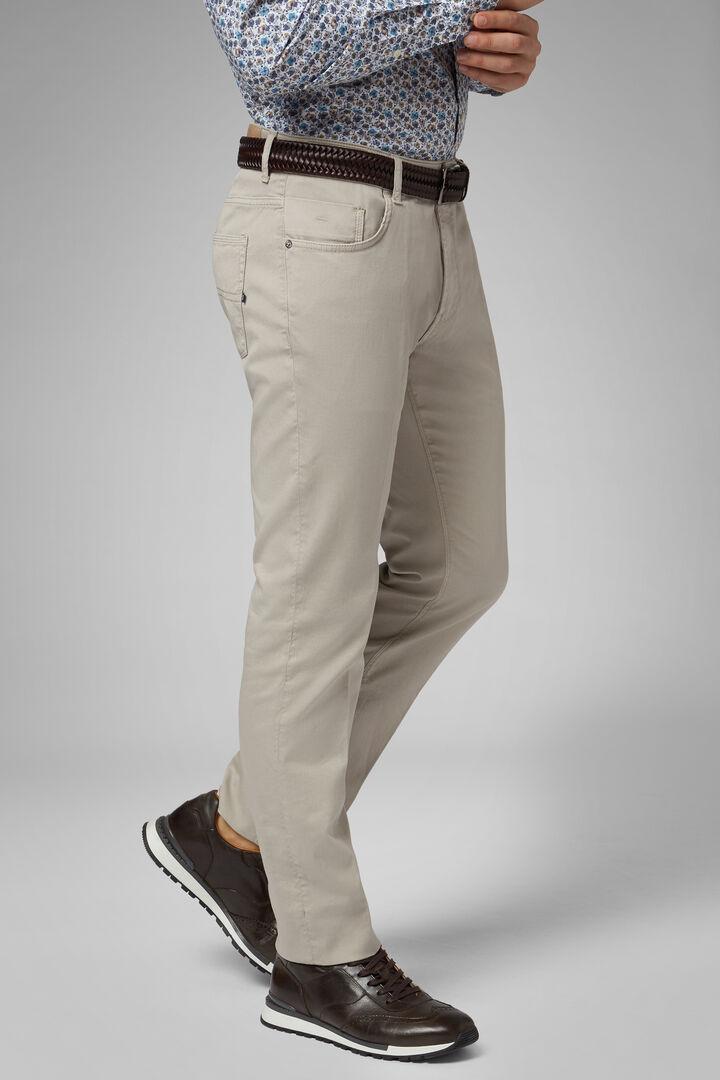 Pantalon 5 Poches En Gabardine De Coton Tencel Coupe Droite, Gris, hi-res