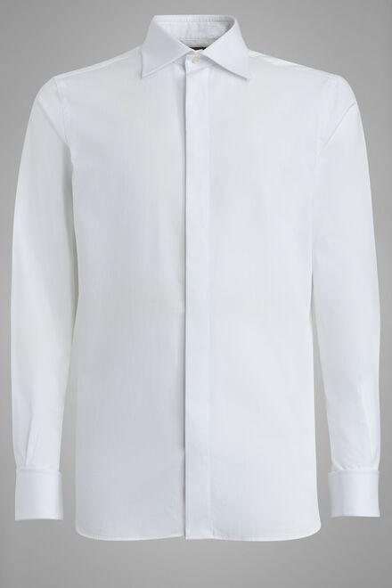 Chemise Blanche À Col Londonien Coupe Régulière, blanc, hi-res